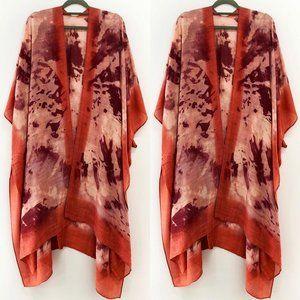 Tie Dye printed long kimono - One Size
